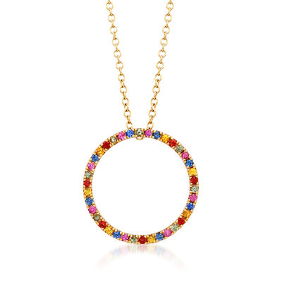 .50 ct. t.w. Multicolored Sapphire Open Circle Pendant Necklace in 14kt Yellow Gold, , default