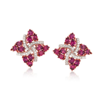 4.80 ct. t.w. Rhodolite Garnet and .20 ct. t.w. White Zircon Pinwheel Earrings in 18kt Rose Gold Over Sterling, , default