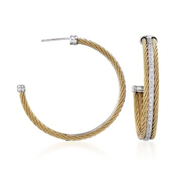 """ALOR """"Classique"""" .56 ct. t.w. Diamond Yellow Cable Hoop Earrings in 18kt White Gold. 1 1/2"""", , default"""