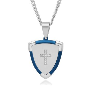 "Men's Blue and White Stainless Steel Cross Shield Pendant Necklace With Diamond Accents. 24"", , default"