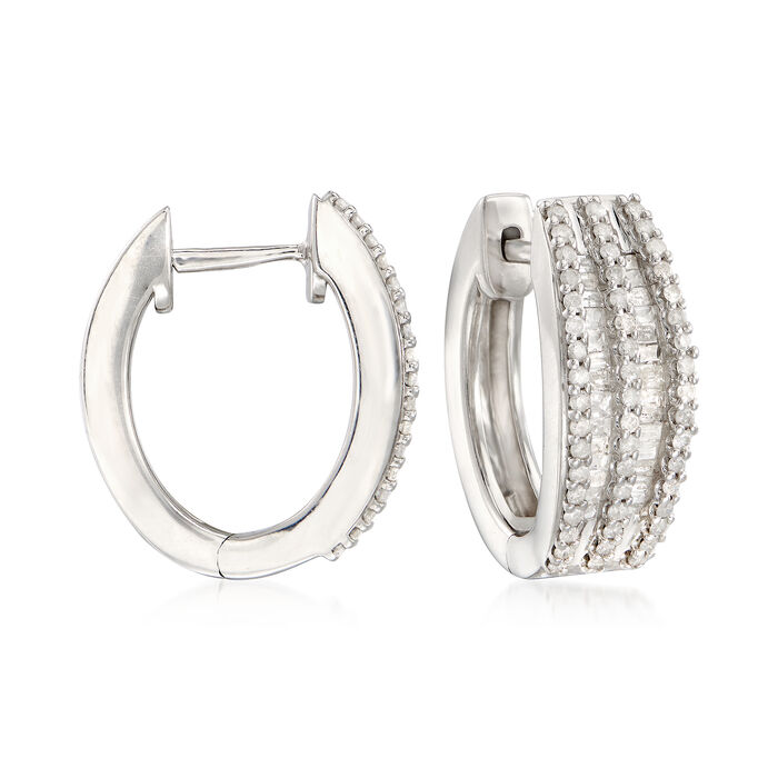 "1.00 ct. t.w. Diamond Double-Row Hoops in Sterling Silver. 5/8"", , default"