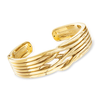14kt Yellow Gold Open-Space Wave Cuff Bracelet, , default