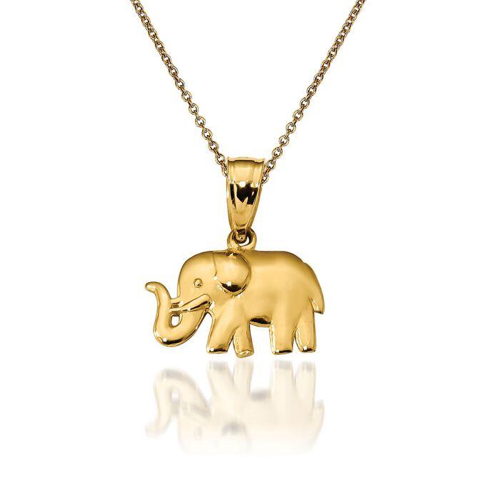 "14kt Yellow Gold Elephant Pendant Necklace. 18"""