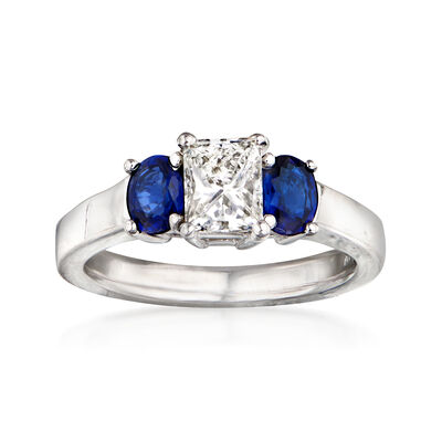 C. 1980 Vintage .75 Carat Diamond and .70 ct. t.w. Sapphire Ring in 14kt White Gold