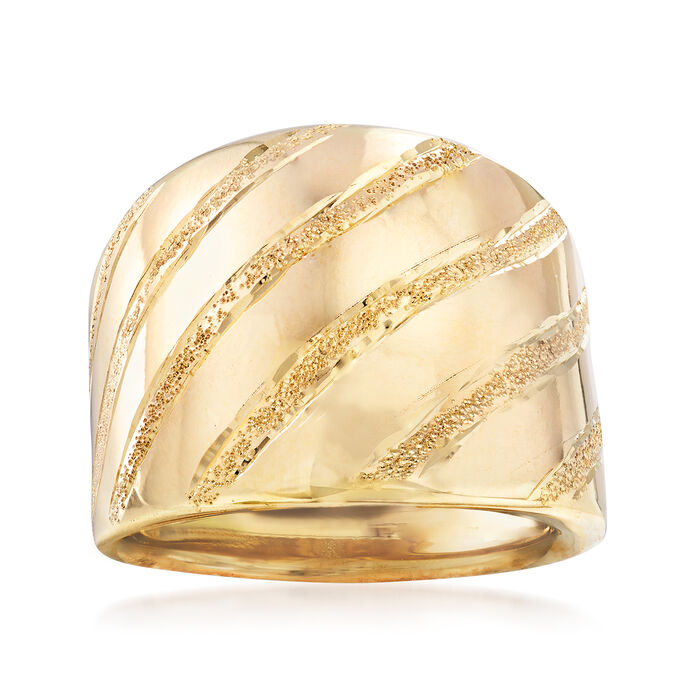 Italian 14kt Yellow Gold Striped Dome Ring, , default