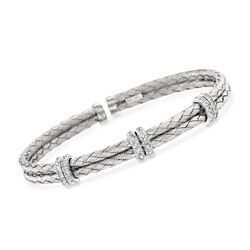 .50 ct. t.w. Diamond Basketweave Cuff Bracelet in Sterling Silver, , default