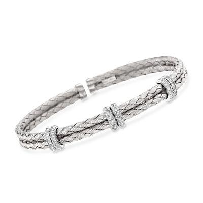 .50 ct. t.w. Diamond Basketweave Cuff Bracelet in Sterling Silver, , default