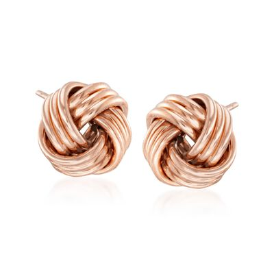 14kt Rose Gold Love Knot Stud Earrings, , default