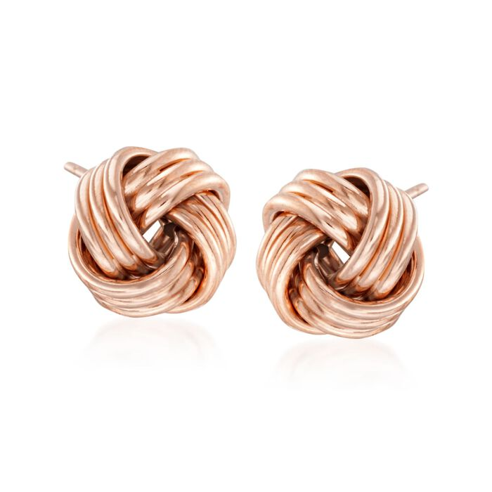 14kt Rose Gold Love Knot Stud Earrings