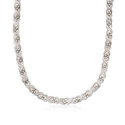 C. 1980 Vintage 11.20 ct. t.w. Diamond Crisscross Necklace in Platinum, , default