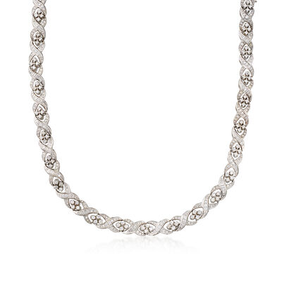 C. 1980 Vintage 11.20 ct. t.w. Diamond Crisscross Necklace in Platinum, , default