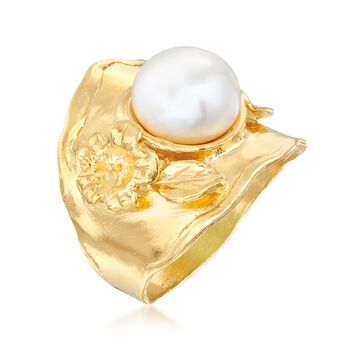 10mm Cultured Button Pearl Floral Ring in 18kt Gold Over Sterling, , default