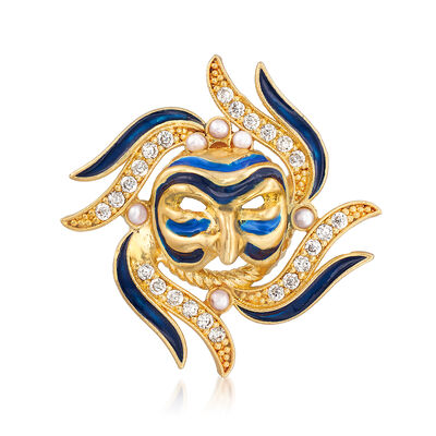 Italian Blue Enamel and .60 ct. t.w. CZ Masquerade Pin in 18kt Gold Over Sterling, , default