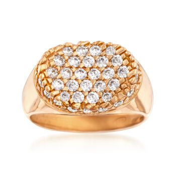 Italian .85 ct. t.w. CZ Ring in 24kt Rose Gold Over Sterling. Size 5, , default
