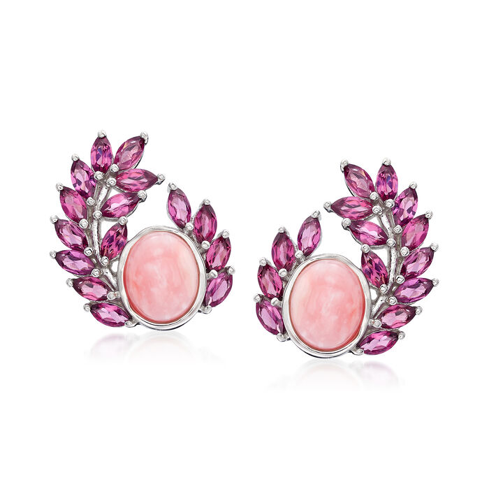 Pink Opal and 5.00 ct. t.w. Rhodolite Garnet Garland Earrings in Sterling Silver, , default