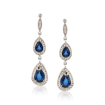 1.70 ct. t.w. Sapphire and .35 ct. t.w. Diamond Drop Earrings in 14kt White Gold, , default