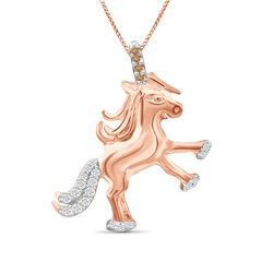 .10 ct. t.w. Champagne and White Diamond Unicorn Pendant Necklace in 18kt Rose Gold Over Sterling Silver, , default