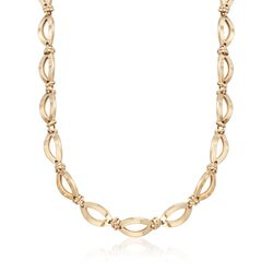 18kt Yellow Gold Over Sterling Scalloped-Link Necklace, , default