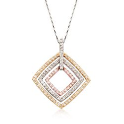 "C. 1990 Vintage 1.35 ct. t.w. Diamond Open-Space Square Pendant Necklace in 14kt Tri-Colored Gold. 17.25"", , default"