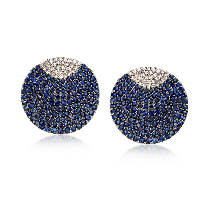 5.75 ct. t.w. Sapphire and .65 ct. t.w. Diamond Disc Earrings in 18kt White Gold, , default