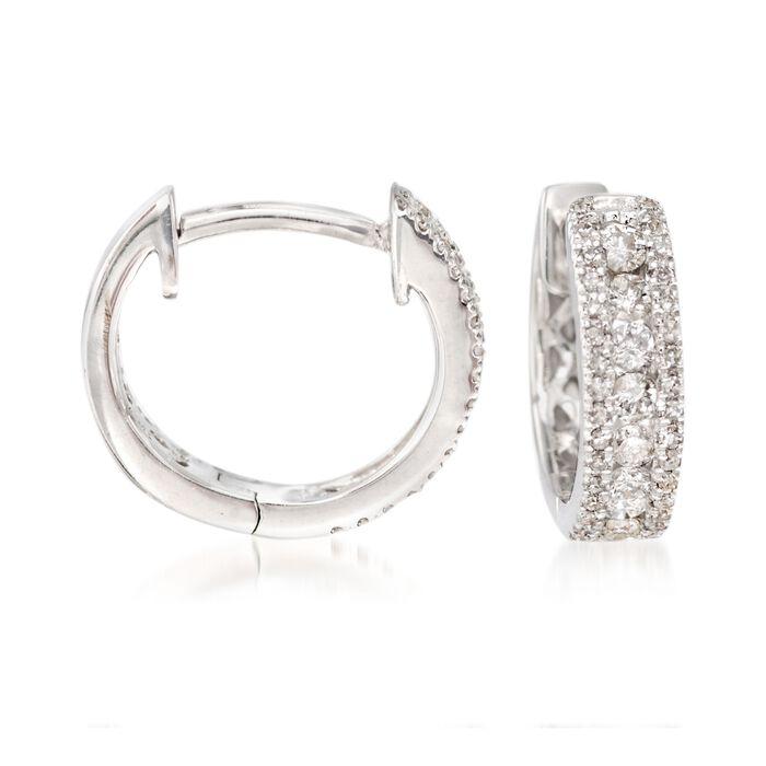 """.35 ct. t.w. Diamond Huggie Hoop Earrings in 14kt White Gold. 3/8"""""""