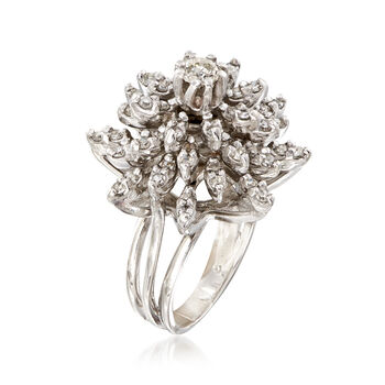 C. 1970 Vintage 1.60 ct. t.w. Diamond Floral Burst Ring in 14kt White Gold. Size 5.5, , default