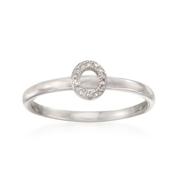 "Diamond Accent Mini Initial ""O"" Ring in Sterling Silver, , default"