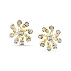 Diamond Illusion Flower Earrings in 18kt Yellow Gold Over Sterling Silver, , default