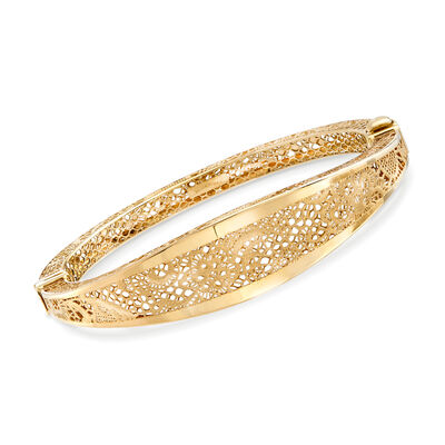 Italian 18kt Yellow Gold Openwork Floral Bangle Bracelet, , default