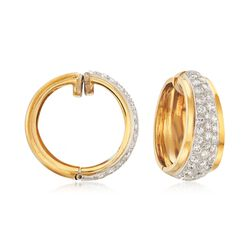 C. 1980 Vintage 2.00 ct. t.w. Pave Diamond Hoop Earrings in 18kt Yellow Gold, , default