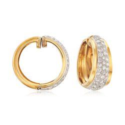 "C. 1980 Vintage 2.00 ct. t.w. Pave Diamond Hoop Earrings in 18kt Yellow Gold. 7/8"", , default"