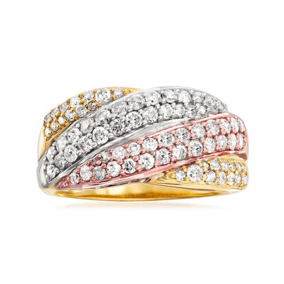 1.00 ct. t.w. Diamond Wavy Crisscross Ring in Sterling Silver and 18kt Multitone Gold Over Sterling, , default