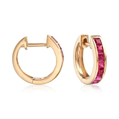 .80 ct. t.w. Square-Cut Ruby Huggie Hoop Earrings in 14kt Yellow Gold, , default