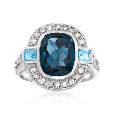 4.30 ct. t.w. Blue Topaz and .67 ct. t.w. Diamond Ring in Sterling Silver