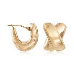 C. 1990 Vintage 14kt Yellow Gold X Earrings , , default