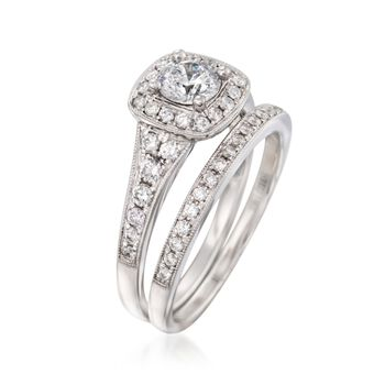 1.13 ct. t.w. Diamond Bridal Set: Square Halo Engagement and Wedding Rings in 14kt White Gold
