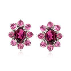 2.50 ct. t.w. Rhodolite Garnet and 1.70 ct. t.w. Pink Tourmaline Halo Drop Earrings in Sterling Silver, , default