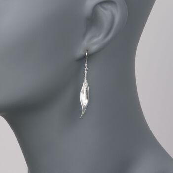 Simon G. .13 ct. t.w. Diamond Leaf Earrings in 18kt White Gold, , default