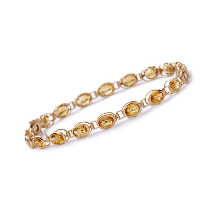 "7.90 ct. t.w. Bezel-Set Citrine Bracelet in 14kt Yellow Gold. 7"", , default"