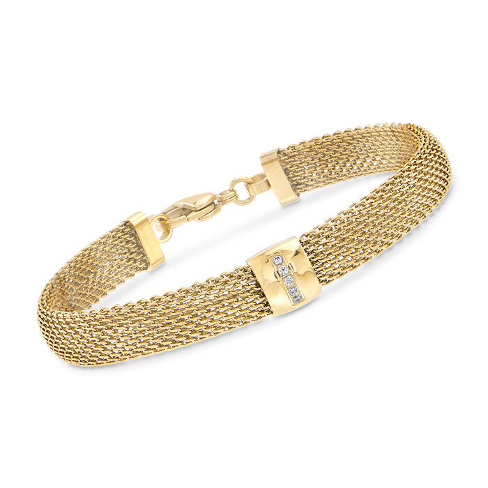 """Gold-Plated Stainless Steel Mesh Bracelet with Crystals. 7.5"""""""