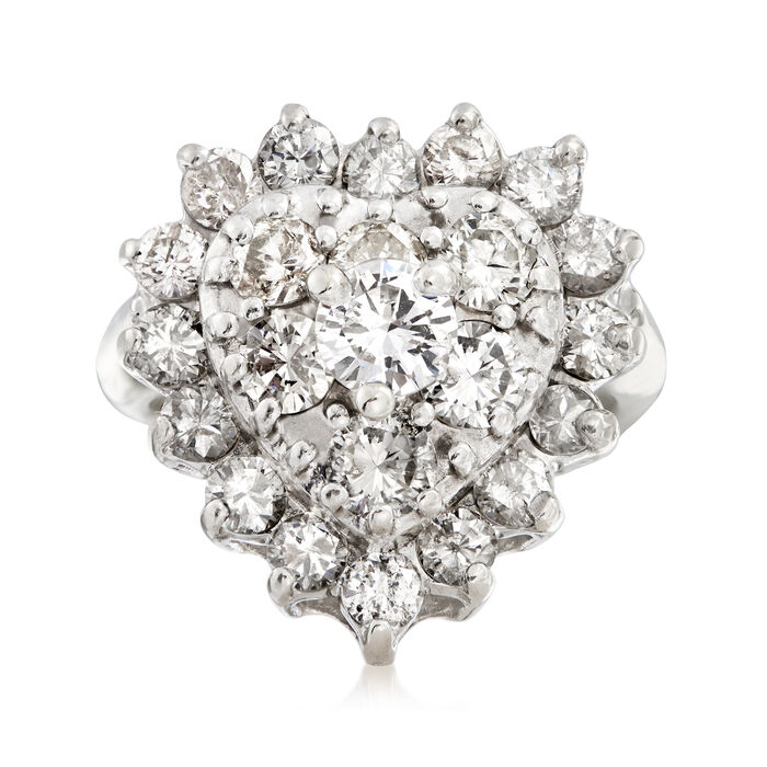 C. 1970 Vintage 2.00 ct. t.w. Diamond Heart Cluster Ring in 14kt White Gold. Size 6, , default