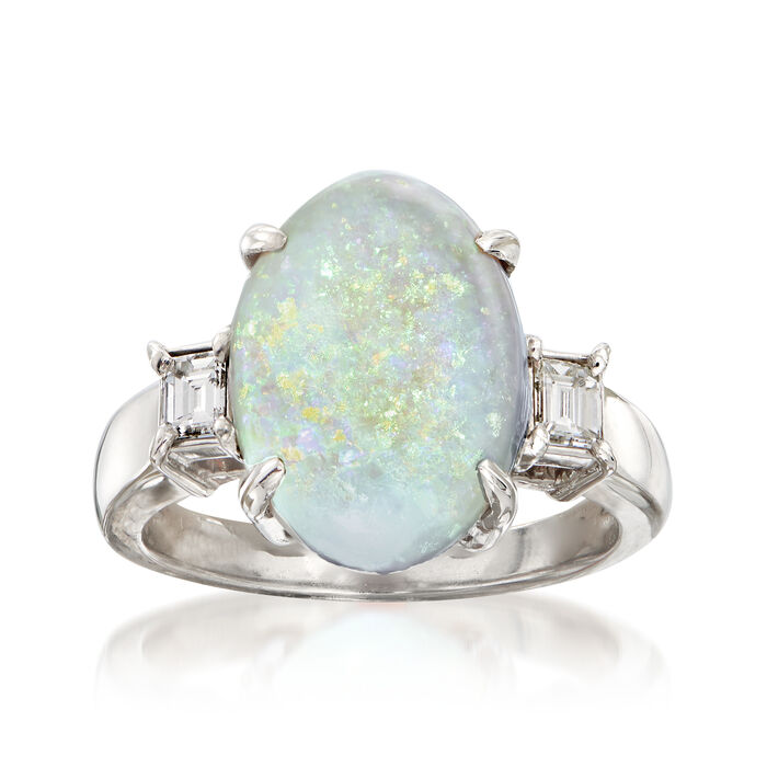 C. 1990 Vintage Opal and .25 ct. t.w. Diamond Ring in Platinum