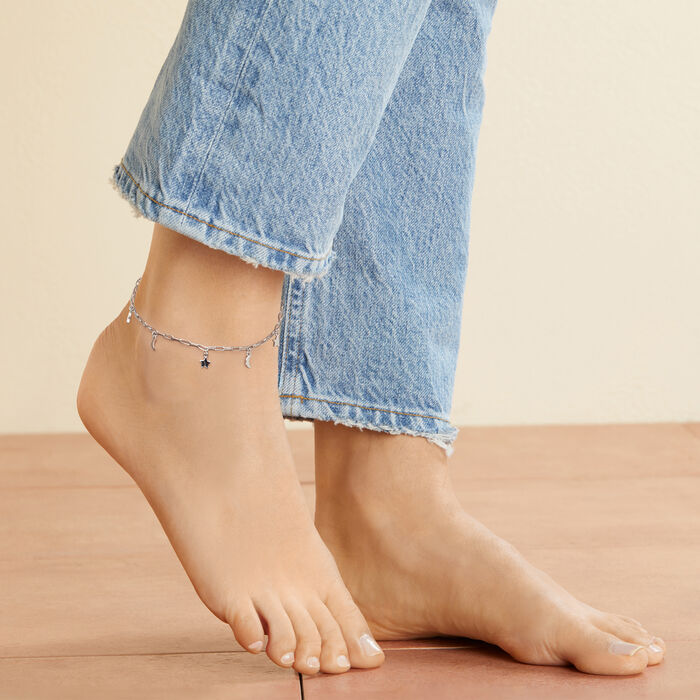 Sterling Silver Paper Clip Link Star and Moon Anklet