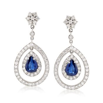 2.30 ct. t.w. Sapphire and 2.29 ct. t.w. Diamond Drop Earrings in 14kt White Gold, , default