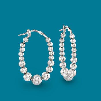 """Italian Sterling Silver Beaded Oval Hoop Earrings. 1 1/8"""""""