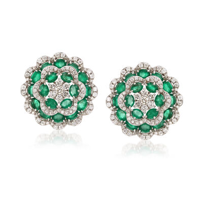 6.20 ct. t.w. Emerald and 1.90 ct. t.w. Diamond Flower Earrings in 18kt White Gold