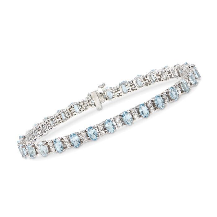 "7.00 ct. t.w. Aquamarine and 1.30 ct. t.w. Diamond Bracelet in 14kt White Gold. 8"""