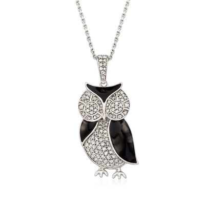 .50 ct. t.w. Diamond and Black Enamel Owl Pendant Necklace in Sterling Silver