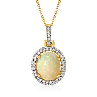 C. 1980 Vintage Opal and .20 ct. t.w. Diamond Pendant Necklace in 14kt Yellow Gold