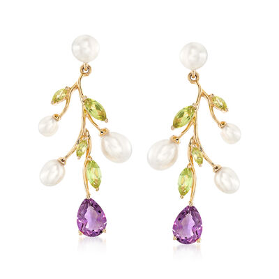 4-6mm Cultured Pearl Tree Branch Earrings with 1.80 ct. t.w. Amethyst and 1.20 ct. t.w. Peridot in 18kt Gold Over Sterling, , default